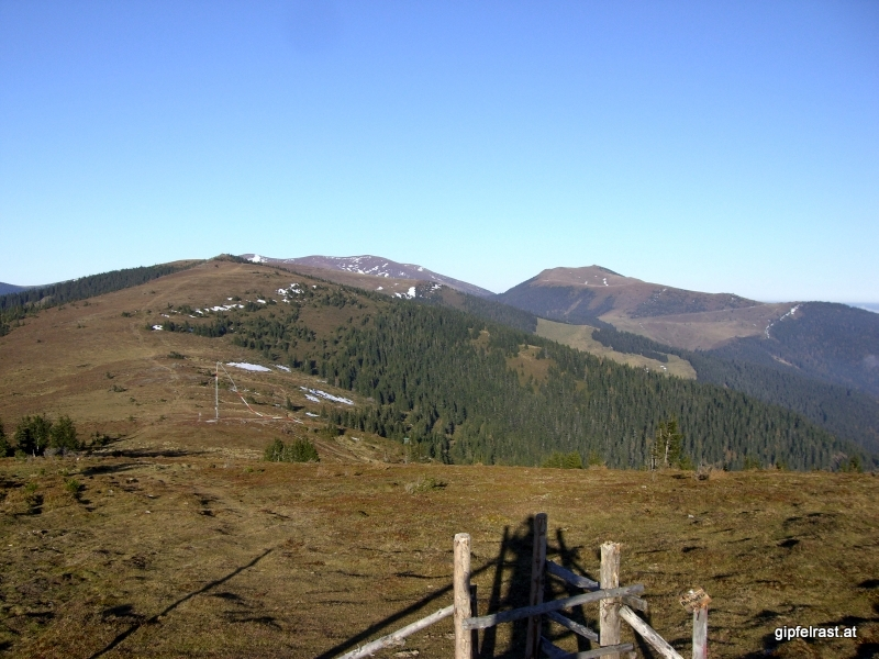 Terenbachalm, dahinter Gleinalmspeik (links) und Rossbachkogel (rechts)