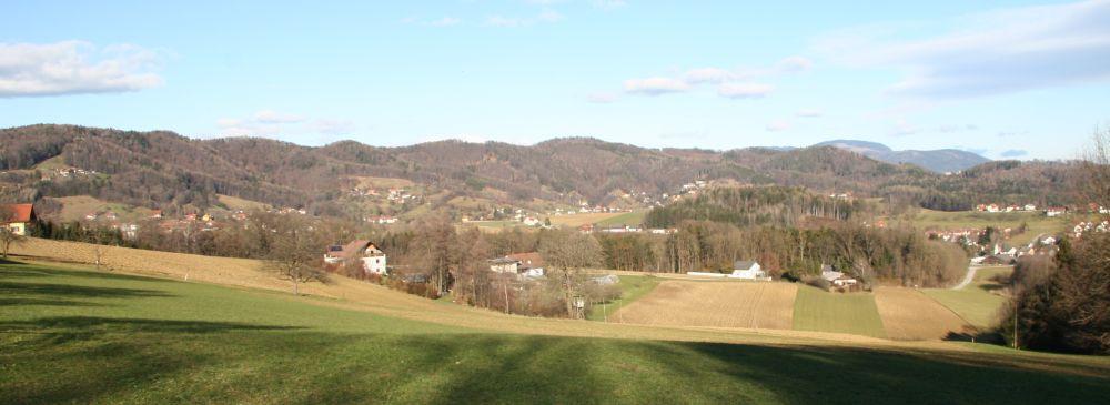 Blick von Thal auf die letzten Kilometer über die Göstinger Hügel