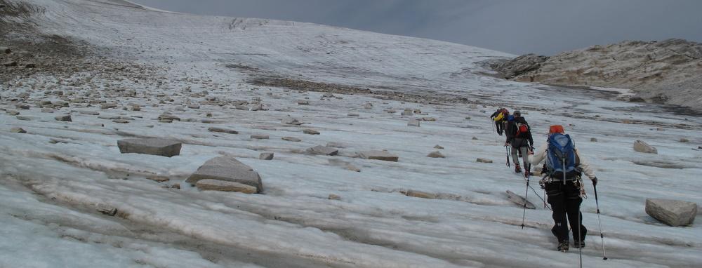 Der Beginn der Gletscherquerung