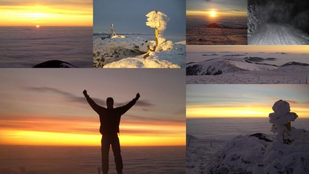 24. Jänner: Sonnenaufgang, ganz allein am Gleinalmspeik