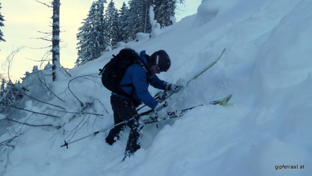 Rutschger sortiert seine Ski