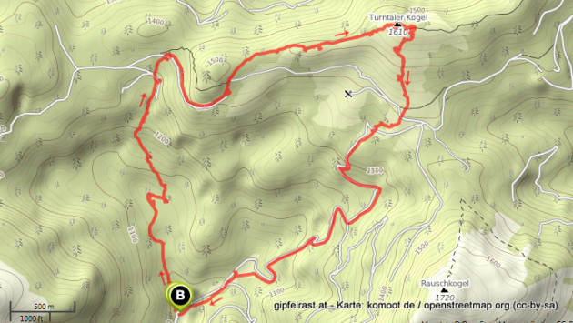 Karte der Tour. (10 km, 700 Hm, 3:25 Std.)
