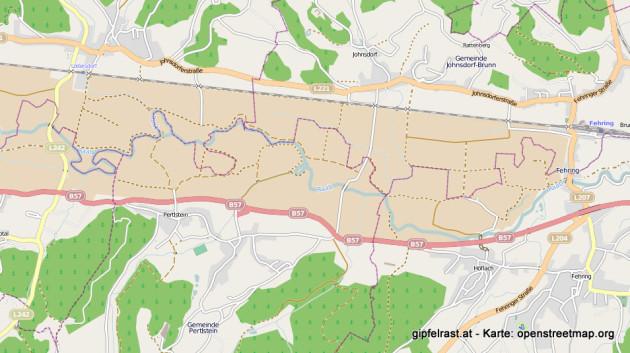 Karte der Raab zwischen Lödersdorf und Fehring