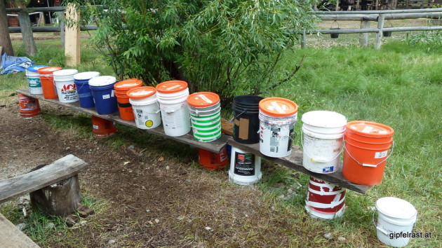 The famous hiker buckets at Muir Trail Ranch