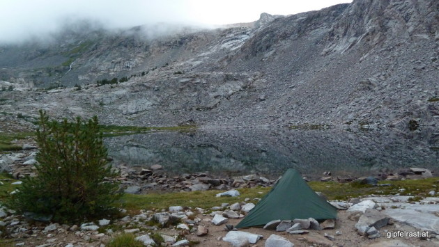 Campsite at Middle Lake in the morning