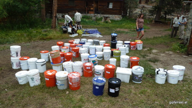 Other hikers' resupply buckets