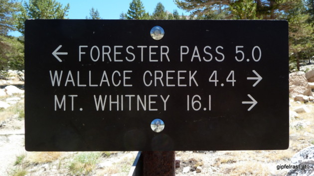 The first signpost to Mt. Whitney