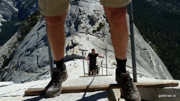 "The view from Half Dome is nice, but the ascent via ""the cables"" is the main attraction here"