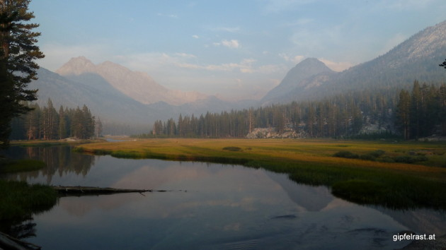 McClure Meadow in Evolution Valley. A bit smoky from a nearby forest fire
