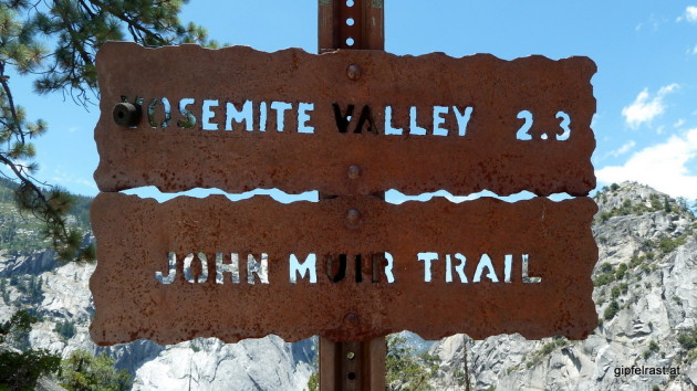 John Muir Trail sign - soooo excited to finally be on the trail