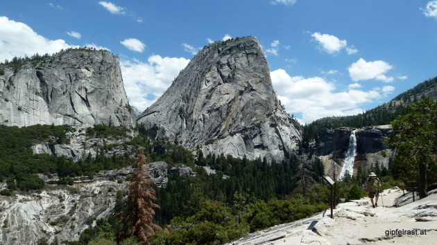 The first glimpse of Nevada Fall. Mt Broderick and Liberty Cap on the left