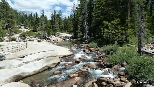 Low water levels allow swimming on top of Nevada Fall