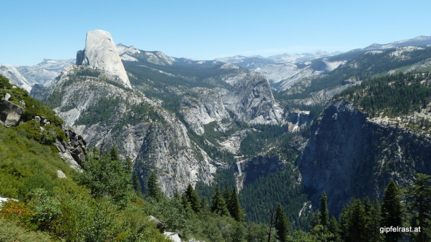 View to Half Dome, Nevada & Vernal Fall
