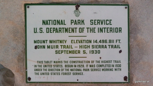 This plaque marks the summit and the end of the John Muir Trail