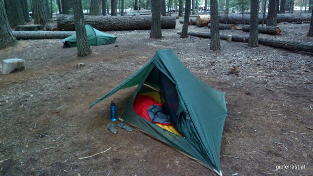 Our tents at the backpackers campground at Little Yosemite Valley