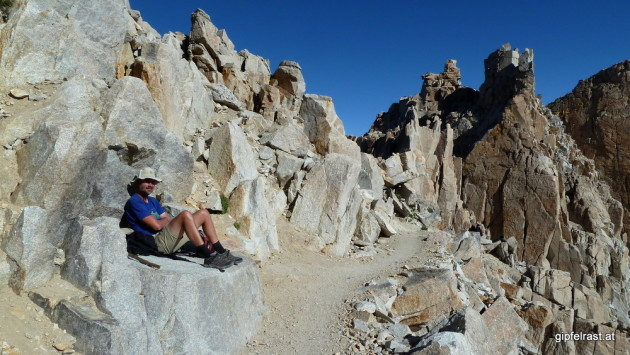 Resting at Trail Crest, it's all downhill from here