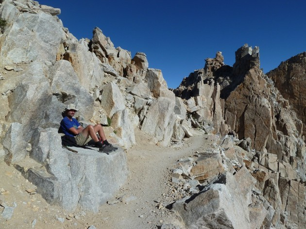 Taking a break at Trail Crest before going down to Whitney Portal