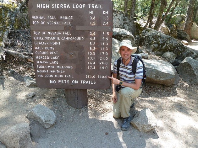 At the JMT trailhead in Yosemite - a loooong way to go!