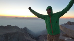 On the summit of Mount Whitney (4421m)