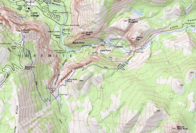 Glacier Point - Illilouette Creek - Nevada Fall - Little Yosemite Valley