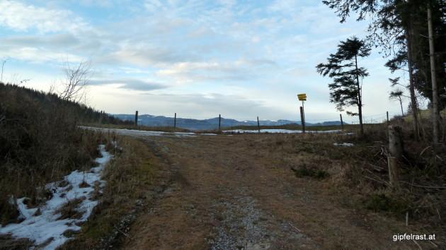 ...bis zum Hagensattel mit Ausblick zu den Ausläufern der Gleinalpe