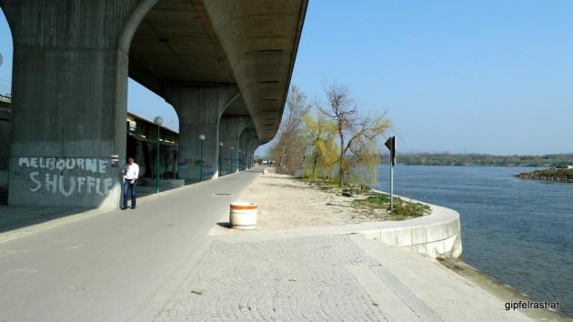 Donaupromenade unter der Autobahn in Nussdorf