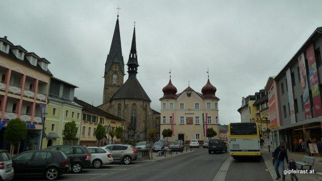 Endstation - zumindest für den Bus: Der Hauptplatz von Bad Leonfelden