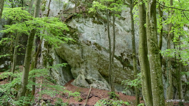 Immer wieder vorbei an imposanten Felswänden