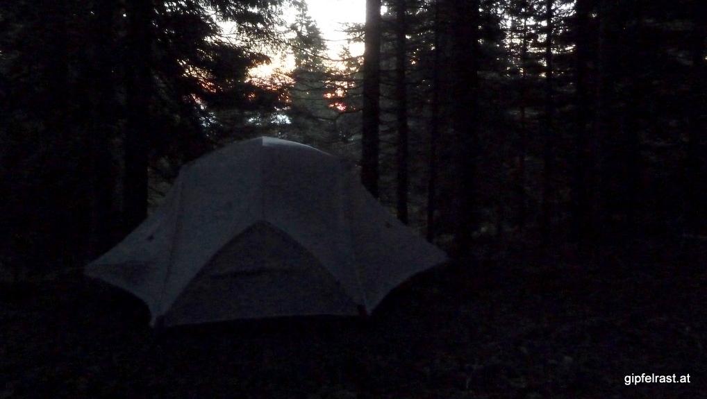 Unser Zeltplatz im Morgengrauen