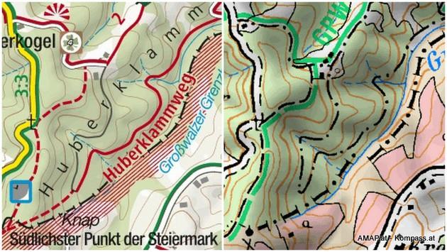 Kartenvergleich - gibt es die Huberklamm samt Wanderweg oder gibt es sie nicht?
