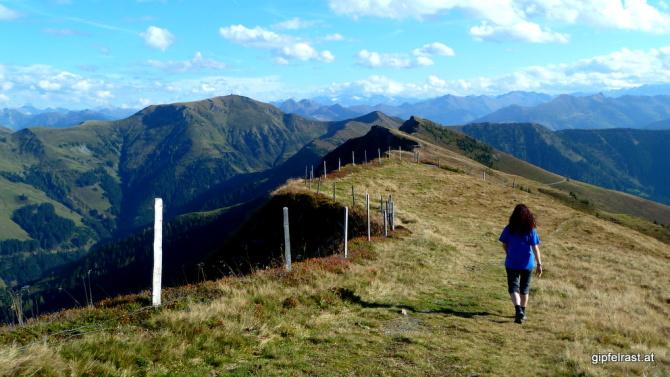 Weiterweg zum Schönwieskopf, links hinten der Hundstein (leider zu weit für heute)
