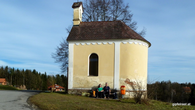 Sonnenpause im T-Shirt bei der Jandlkapelle - und wir schreiben den 10. Jänner!