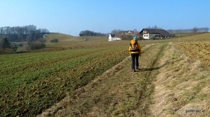 Noch hält die Landwirtschaft ihren wohlverdienten Winterschlaf. Zwischen unbestellten Feldern halten wir auf den unscheinbaren, aber an Aussicht reichen Loibenberg zu.