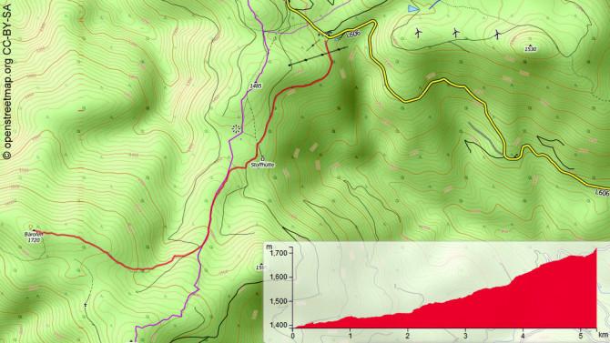 Übersichtskarte: Startpunkt rechts oben beim Schlepplift, links unten der Bärofen