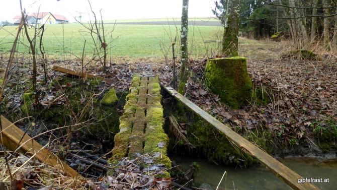 Das Geländer bereits in Trümmern, ob die Brücke selbst noch lange hält?