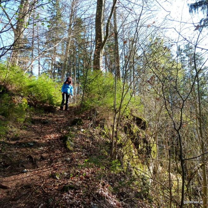 Es darf geschnauft werden: Am Wanderweg steil durch die Felsen der Ranerwand.