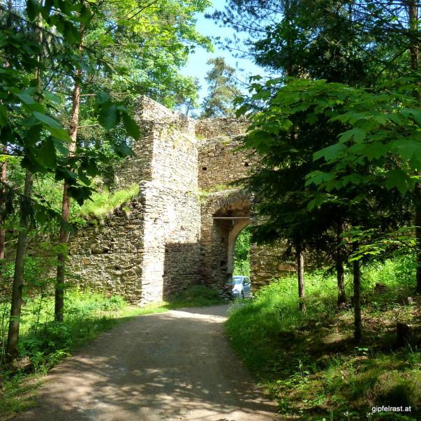Die zur Ruine Kollmitz gehöhrende Böhmische Mauer