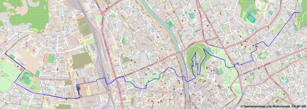 Meine gewählte Route durch Graz