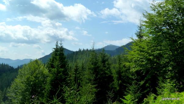 Noch weit weg: Ein erster Blick zum Thalerkogel