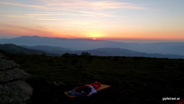 Mein Schlafplatz vor der aufgehenden Sonne