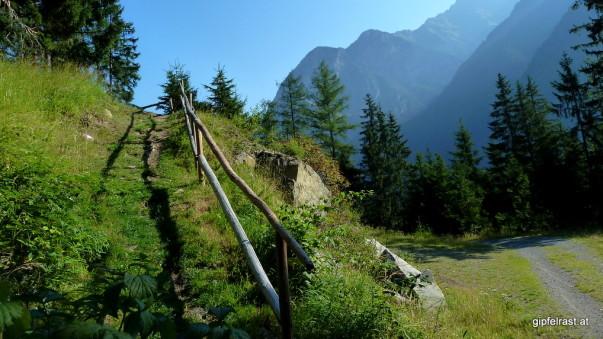 Den Wanderweg zur Gehsteigalm hat man schön hergerichtet