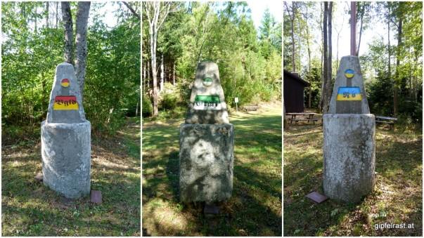 Drei Ansichten eines Steins. Und die steirischen Farben kopfüber...
