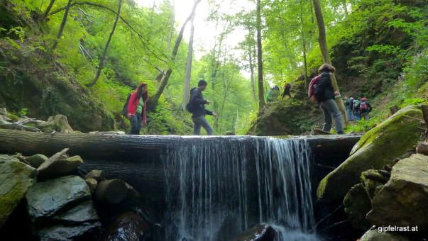 Die Stimmung ist gut, sogar auf dem Wasserfall wird getanzt!