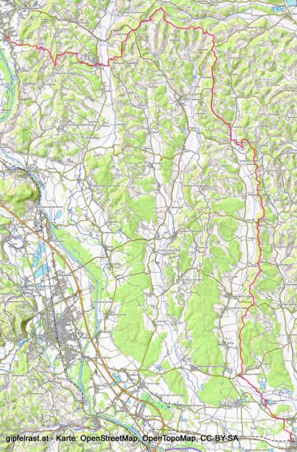 Unsere Route am Grabenlandtrail von Fernitz (links oben) nach Mureck (rechts unten).