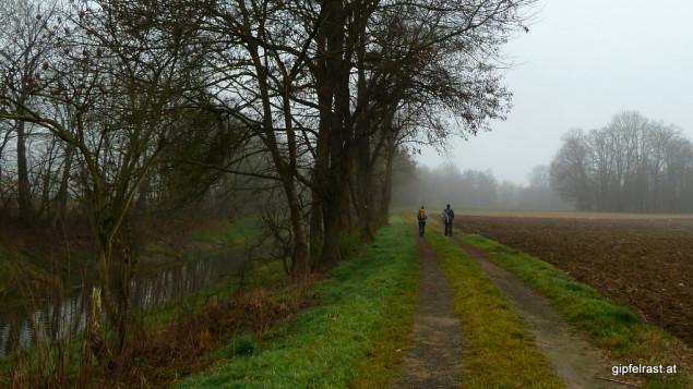 Bald ein gewohntes Bild: Wanderer am Ufer des Schwarzaubachs