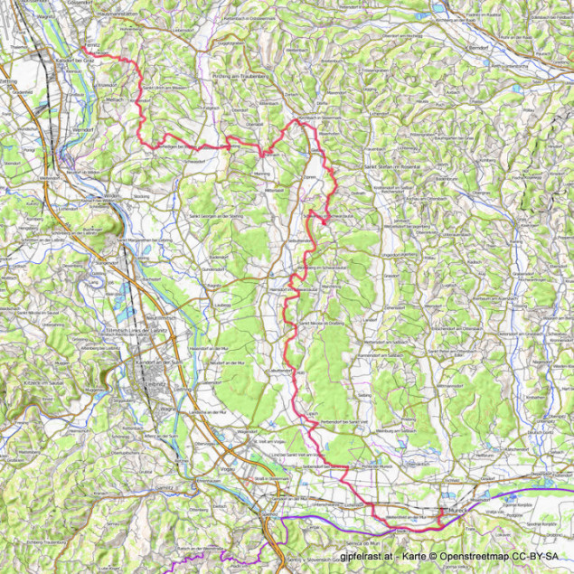 Die Westroute des Grabenlandtrails. GPS-Track hier.
