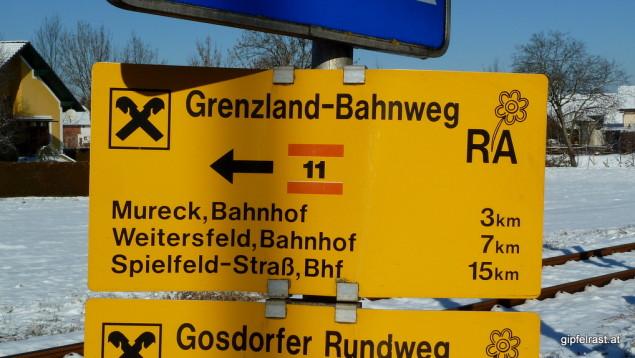 Wegweiser GrenzlandBahnweg