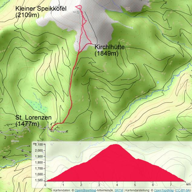 Übersichtskarte, von St. Lorenzen führt Weg 155 direkt auf den Gipfel des Speikkofels.