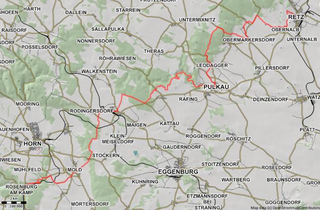 Karte Wald-Weinviertel-Weg 663