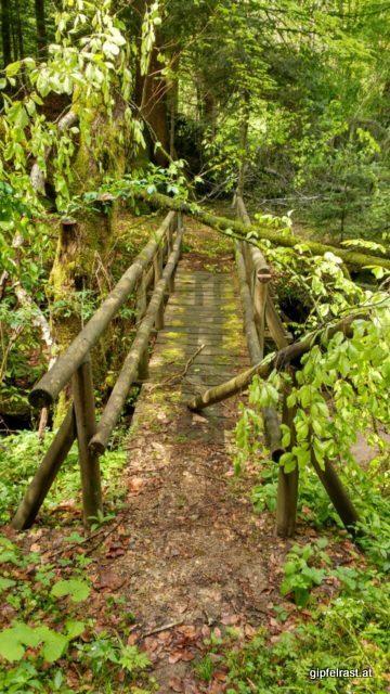 Von den jüngsten Wetter Kapriolen mitgenommene Brücke